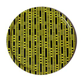 Duro Olowu Round Tray Lagos Stripe Yellow and Black
