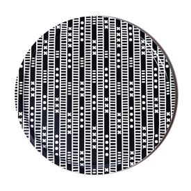 Duro Olowu Round Tray Lagos Stripe Black and White BLACK_WHITE