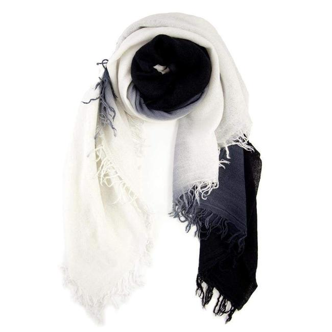 Dip- Dyed Cashmere And Silk Scarf - White And Black
