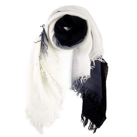 Dip-Dyed Cashmere and Silk Scarf -  White and Black