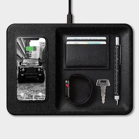 Wireless Charging Station and Accessory Organizer - Black