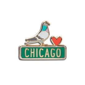 Chicago Pigeon Enamel Pin