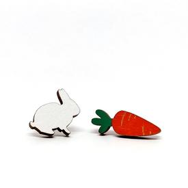 Bunny and Carrot Wood Earrings