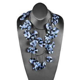 Recycled Poppy Necklace - Blue