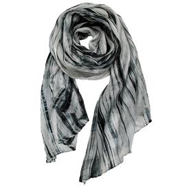 Crinkle Silk Scarf - Black and Ivory