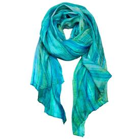 Crinkle Silk Scarf - Aqua and Lavender