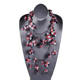 Recycled Poppy Necklace - Red and black