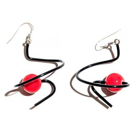 Zig Zag Earrings - Black and Red