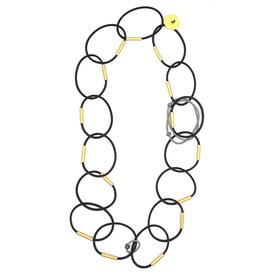 Long Links Necklace - Black and Gold