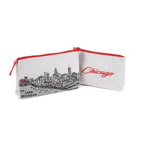 Chicago Skyline Pouch and Makeup Bag WHITE