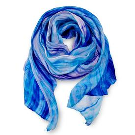 Crinkle Silk Scarf - Blue and Purple