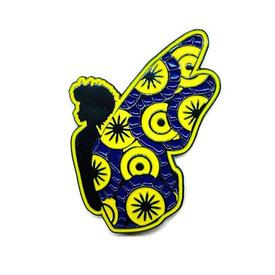 Black Butterfly Pin - Blue and Yellow