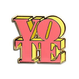 VOTE Enamel Pin - Pink and Yellow