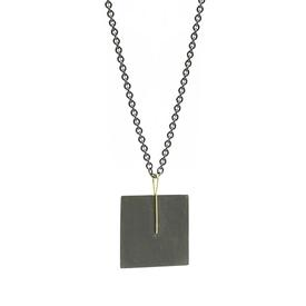 Blackened Sterling Silver Square Necklace