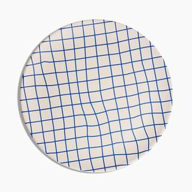 Bamboo Dinner Plates Set - Blue Grid