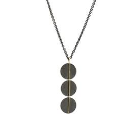 Blackened Sterling Silver Triple Circle Necklace