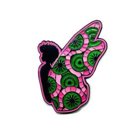 Afro Butterfly Pin - Pink and Green