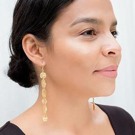 Gold Strokes Mismatched Linear Earrings
