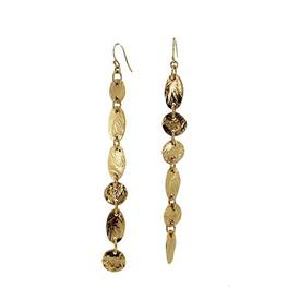Gold Strokes Mismatched Linear Earrings GOLD_PLATE