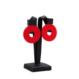 Moon Clip Earrings - Red