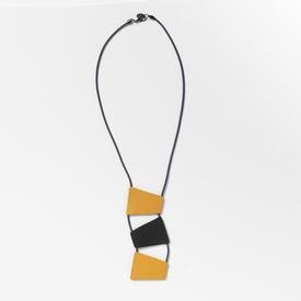 Stacked Trapezoid Necklace - Gold, Black, Grey GREY_BLK_GOLD