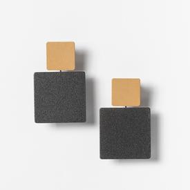 Square Stack Earrings - Black and Gold GOLD_BLACK