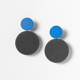 Circle Stack Earrings - Black and Blue