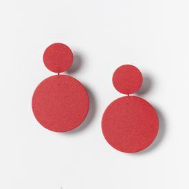 Circle Stack Earrings - Red RED
