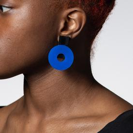 Moon Clip Earrings - Blue
