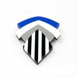 Striped Shield Pin - Blue