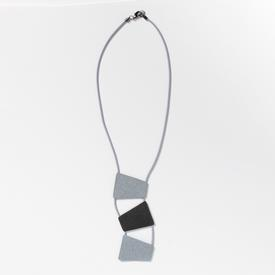 Stacked Trapezoid Necklace - Grey and Black