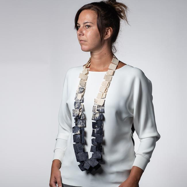 Nest Necklace Long - Ivory And Blue