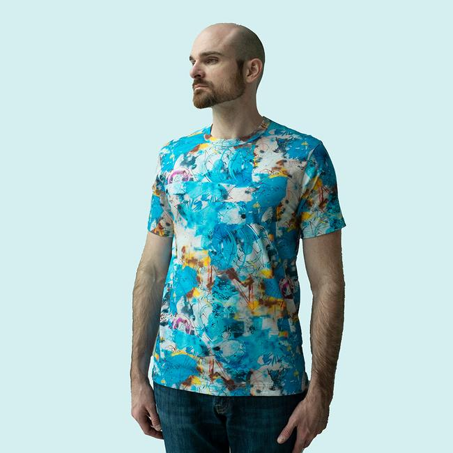 Comme Des Garcons Shirt X Futura Short Sleeve All Over Print - Blue