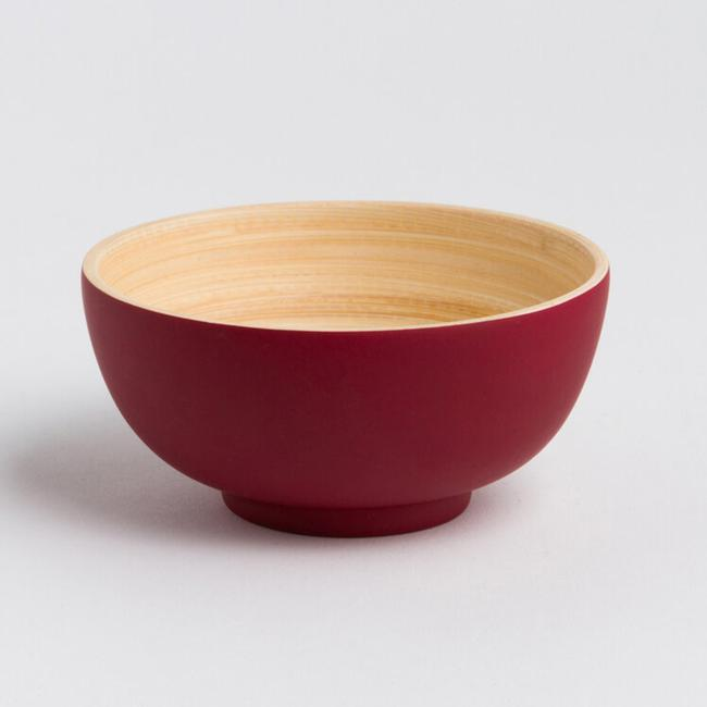 Small Bamboo Bowl - Matte Red