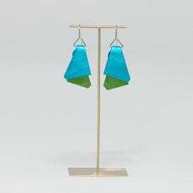 Triangle Dual Color Earrings - Green and Teal