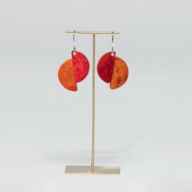 Half Circle Dual Color Earrings - Red and Orange