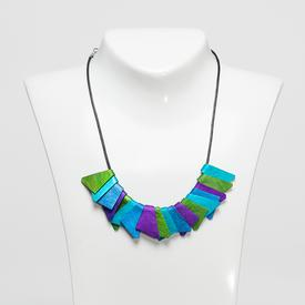 Tri- Colored Triangle Necklace GREEN_TEAL