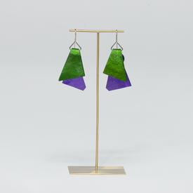 Triangle Dual Color Earrings - Green and Purple