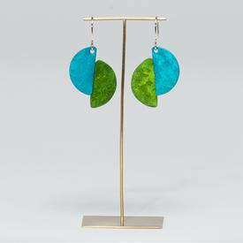 Half Circle Dual Color Earrings - Green and Teal