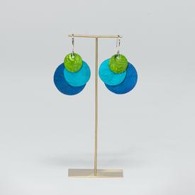 Circle Tri-Color Earrings - Blue, Teal, and Green BLUE_MULTI