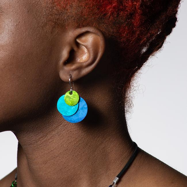 Circle Tri- Color Earrings - Blue, Teal, And Green
