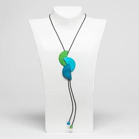 Half Circle Tri-Color Necklace - Green, Teal, Blue