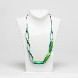 Oval Chain Necklace - Green and Teal TEAL_GREEN