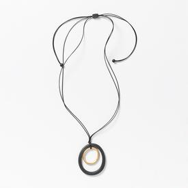 Double Ring Necklace - Black and Gold Tone