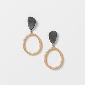 Oval Loop Earrings - Black and Gold Tone BLK_GOLD