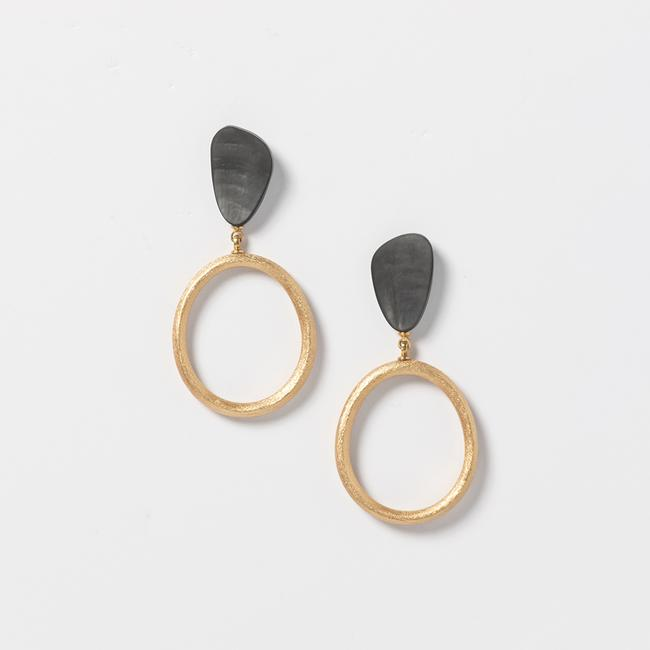 Oval Loop Earrings - Black And Gold Tone