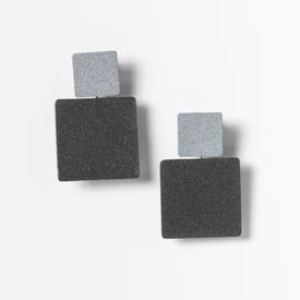 Square Stack Earrings - Grey and Black