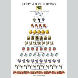 Art Lover's 12 Days of Christmas Holiday Cards Set of 15