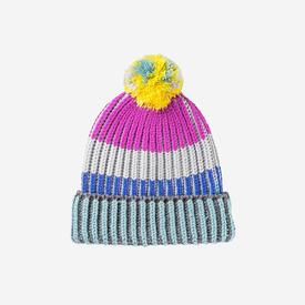 Ribbed Striped Pom Hat - Magenta Yellow