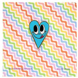 Smiling Heart Pin - Blue BLUE